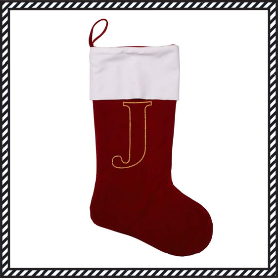 Christmas stocking with letter J