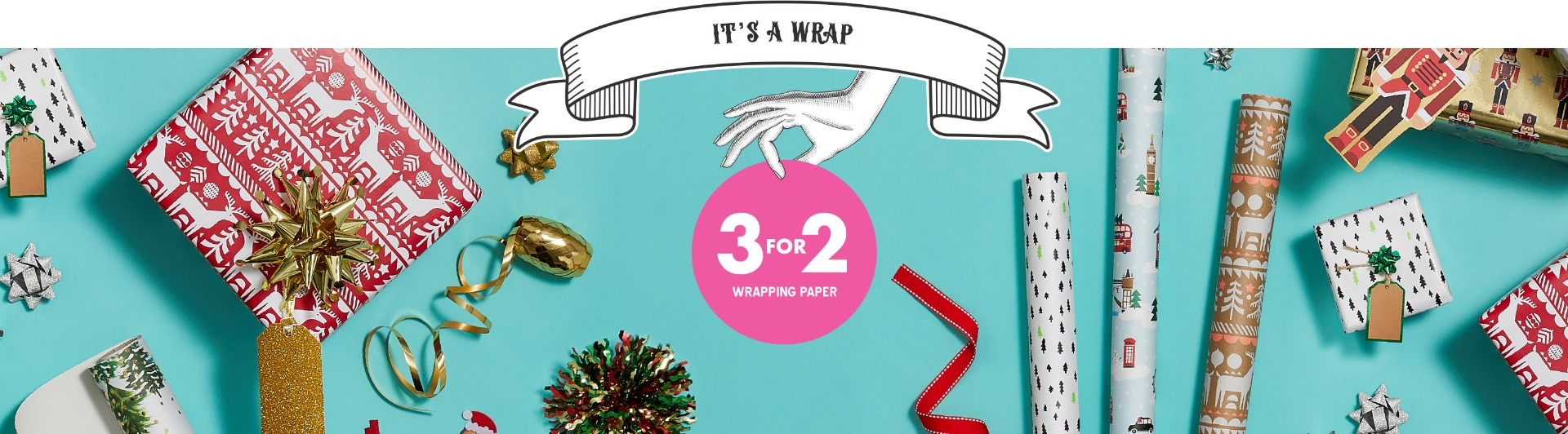 3 for 2 Christmas wrapping paper