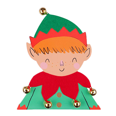 Elf with bells Christmas card
